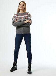 Dorothy Perkins Womens Grey Candy Cane Fairisle Christmas Jumper Pullover Top