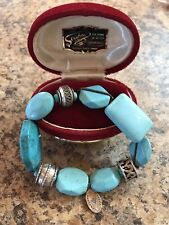 SILPADA B2162 TURQUOISE STERLING SILVER STRETCH BRACELET
