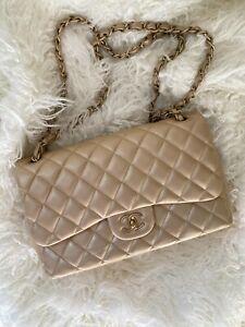 Chanel Classic Double Flap Jumbo Champagne Lambskin Gold Hardware