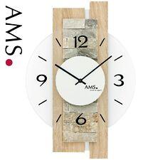 AMS 9542 Reloj de pared cuarzo análogo moderno madera Sonoma óptica Con