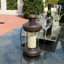 Sunnydaze Outdoor Antique Hanging Solar Lantern with Candle and LED - 12""