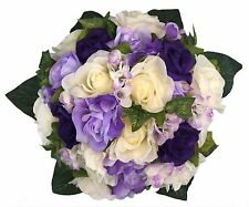Purple, Lavender and Ivory Hydrangea Rose - Silk Bridal Wedding Bouquet