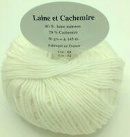 10 pelotes  cachemire et mérinos couleur :  blanc - FABRIQUE EN FRANCE