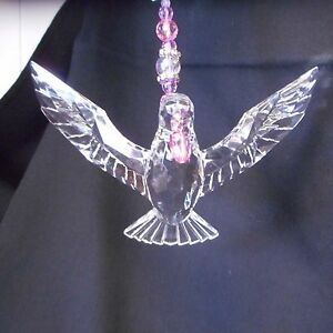 NEW Crystal Expressions Hanging Dove with Heart and Bead Trim by Ganz