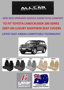 Sheepskin Car Seat Covers to fit Toyota Landcruiser 200 Series 33mm Platinum