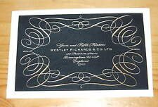 WESTLEY RICHARDS & CO SHOTGUN CASE LABEL Gunmaker  (Black & Gold label) Repo