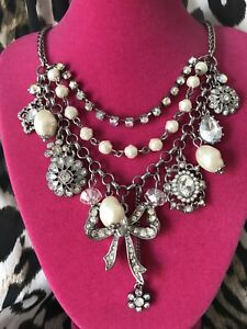 Betsey Johnson Stone And Pearl Clear Crystal AB Daisy Bow Silver Charm Necklace
