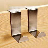 4X Stainless Steel Metal Over Door Hooks for Clothes Coat Robe Hanger np