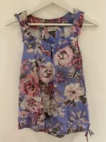 PURPLE FLORAL TOP 14 NEXT SUMMER HOLIDAY CASUAL COMFORT BEACH SUN PRETTY PINK