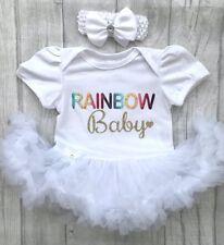 Rainbow Bebé Tutu Mameluco, Multi Arco Iris de Oro Brillo Bebé Pequeño Corazón, recién nacido