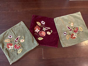 POTTERY BARN Velvet Pillow COVER, Lot of 3, Floral Embroidered  WINE GREEN, EUC