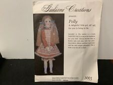 """Giuliani Creations Pattern For 4'8"""" Doll Polly Has Material Painted Face"""