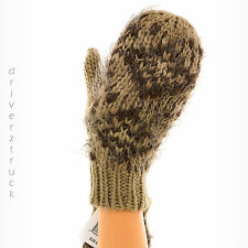 MADDEN GIRL Women's BROWN & TAUPE Print MITTENS Eyelash Faux FUR Winter Gloves