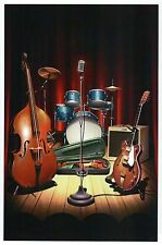 Band on Break, Music Instruments, Drums Guitar Bass Microphone - Modern Postcard