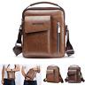 Mens Leather Crossbody Messenger Shoulder Bag Travel College Business Handbag