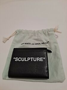 OFF WHITE c/o VIRGIL ABLOH Black Leather 'Sculpture' Logo Small Wallet
