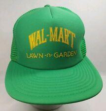 72fcd684eacae Vintage Wal-mart Lawn-N-Garden Snapback Trucker Hat Green Yellow Walmart  Taiwan