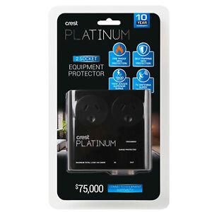 Crest Platinum Surge Protector Power Board 2 Socket TV Antenna Grounded LEDs
