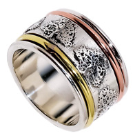 BOHO Tree of Life Statement Three Tone 925 Sterling Silver Band Spinner Ring