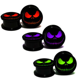 Screw On  Tunnel Ear Plugs Earring Evil Pumpkin Halloween Ghost Face Logo Skull