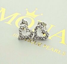 REAL 925 Sterling Silver Stud Earrings Heart Cubic Zirconia Womens Jewelry Gift