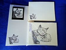 Content Mom Cat & Kitten 4 Pc Set-Notepad-6 Blank Notecards-Printed Env & Magnet