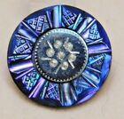 Antique+French+BUTTON+Carved+%26+Dyed+Blue+Pearl+Shell+w%2Fa+Steel+Center+NICE+%23H1