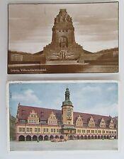 2 x LEIPZIG Sachsen Völkerschlacht-Denkmal und Rathaus frankiert 1927/1929