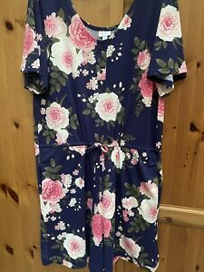 Lularoe Xanthe romper navy pink floral XL