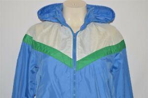 vintage 80s NIKE BLUE WHITE GREEN HOODED WIND RUNNER JACKET WOMENS XS