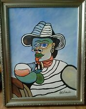 Original Abstract Portrait Signed Oil Painting
