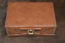 Cassette Storage Case EXCELLENT Faux Leather and Brass Nice Vintage Travel Box