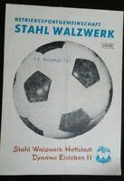 Programm 20.10.84 Stahl Walzwerk Hettstedt Dynamo Eisleben 2 Bezirksl.Fussball