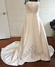 Davids Bridal Michaelangelo Wedding Dress, Size 4, Lavender & Silver Applique