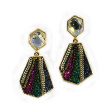 Earring Jewelr Multicolor Crystal Gold Diamond Shaped Luxury Fashion Drop Dangle