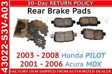 FACTORY OEM HONDA PILOT/ACURA MDX- REAR BRAKE PADS NEW OEM FACTORY 43022-S3V-A03