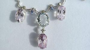 New  51.81 carat Diamond Kunzite Aquamarine Platinum & 14k white gold necklace