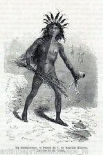 Antique print United States American Mandan indian torturer 1869 mandans indians
