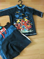 BNWT 2 PIECE SWIMMING TRUNK SET SHORTS & TOP SIZE 5-6 YRS MARKS & SPENCER INDIGO