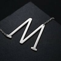 SALE Large Sideways Initial Pendants Necklaces Jewelry Stainless Steel For Women