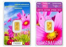 1g Argor Heraeus Goldbarren 1 Gramm 9999 Frühling Blumen Schmetterling Spring