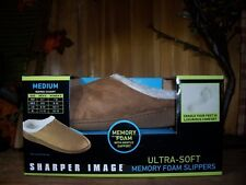 SHARPER IMAGE UNISEX MEMORY FOAM SLIPPERS SIZE MED MENS 8-9 LADIES 9-10 BROWN