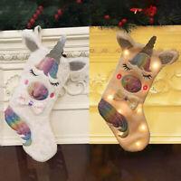 Unicorn Embroidered Xmas Stocking Gift Bag Luxury Sack Christmas Tree Ornaments