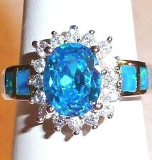 STUNNING AQUAMARINE OVAL BLUE FIRE OPAL INLAY CZ'S QUALITY 925 STERLING SIZE 7