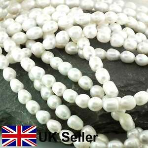 7mm freshwater loose pearl string, White Rice Pearl by Pearls Direct
