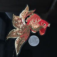 2Pcs Animal Gold Fish Embroidery Iron on Patch Applique Badge Sequins Women