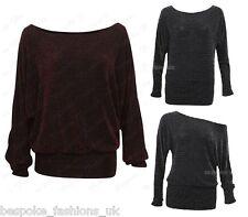H3a Ladies Lurex Long Sleeve off Shoulder Womens Sparkly Batwing Plus Sizes 8-22 XL Black