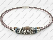 Ethnic Jewellery Tribal Leather Beads Necklace Choker Womens Mens #11