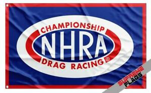NHRA Flag Banner (3x5 ft) Championship Drag Racing Wall Garage Car Blue