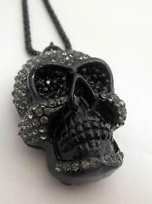 N98# Betsey Johnson Free shipping! The new big beautiful black crystal skull